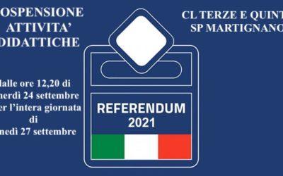 Sospensione attività didattiche classi terze e quinte scuola primaria Martignano (referendum provinciale del 26 set 2021)