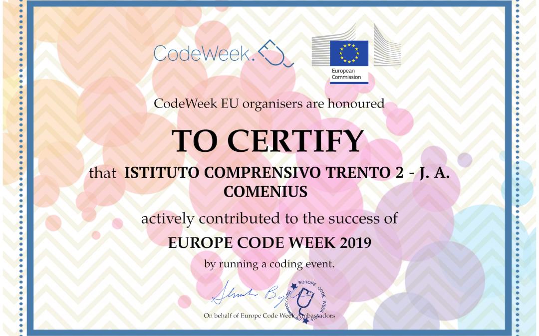 Il nostro Istituto ha partecipato alla Europe Code Week 2019