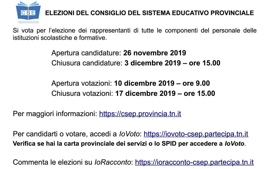 Elezioni del consiglio sistema educativo provinciale