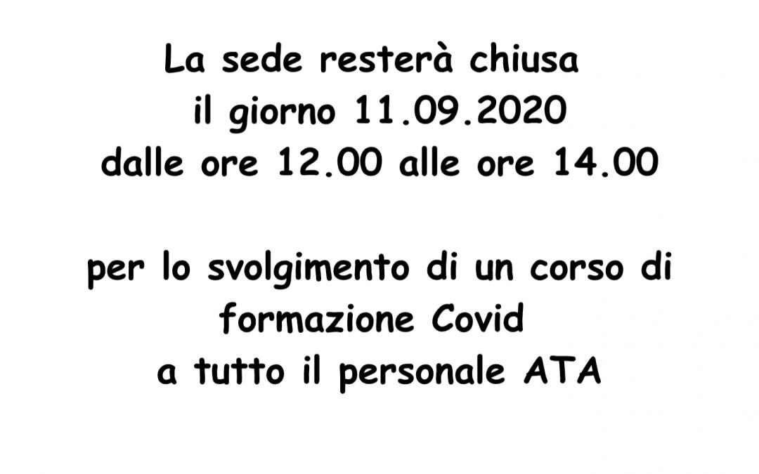 Chiusura sede per aggiornamento Covid per il personale ATA – venerdi 11 settembre dalle 12.00 alle 14.00